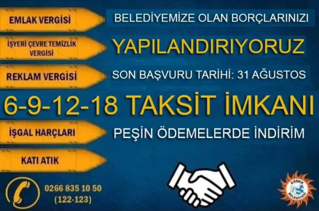 Erdek Belediyesi Borçlarınızı Yapılandırıyor